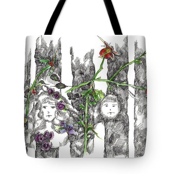 Tote Bag featuring the drawing Forest Faces by Cathie Richardson