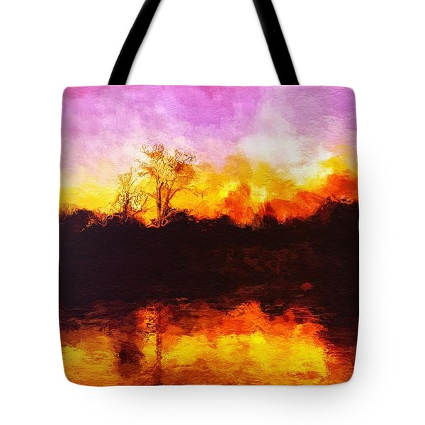 Tote Bag featuring the painting Forest Fire by Mark Taylor