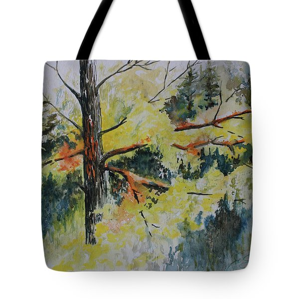 Tote Bag featuring the painting Forest Giant by Joanne Smoley