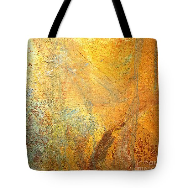 Tote Bag featuring the mixed media Forest Gold by Michael Rock