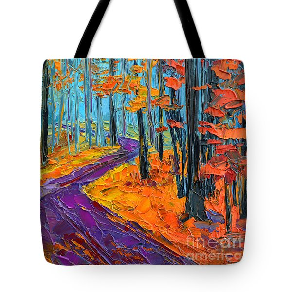 Tote Bag featuring the painting Autumn Forest And Purple Path - Orange Red Foliage - Modern Impressionist Knife Palette by Patricia Awapara