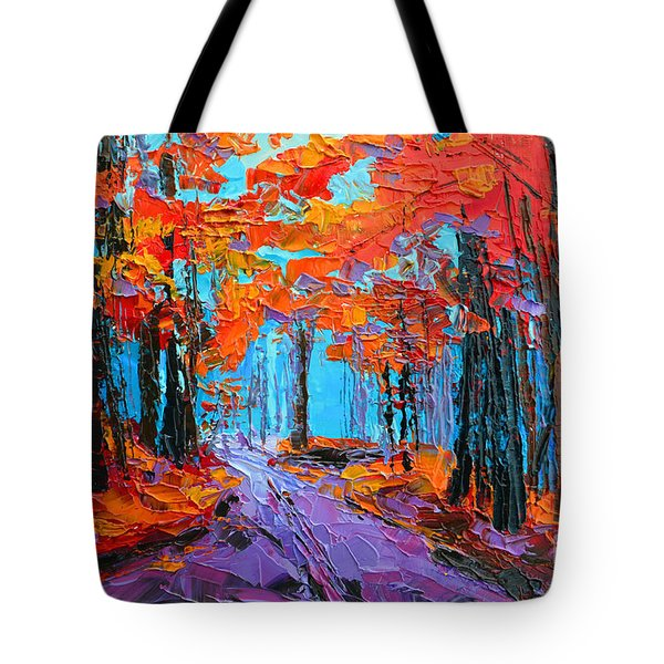 Tote Bag featuring the painting Autumn Forest, Purple Path, Modern Impressionist, Palette Knife Painting by Patricia Awapara