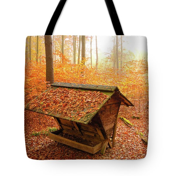 Forest In Autumn With Feed Rack Tote Bag by Matthias Hauser
