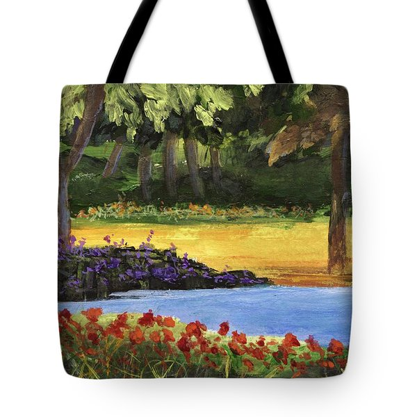 Tote Bag featuring the painting Forest Lake by Jamie Frier
