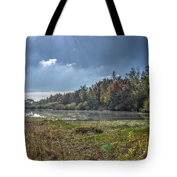 Forest Lake In Autumn Tote Bag