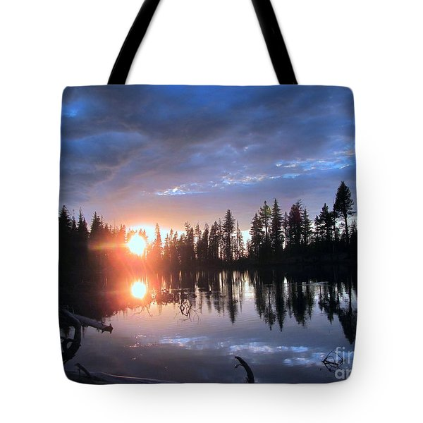 Forest Lake Sunset  Tote Bag by Irina Hays