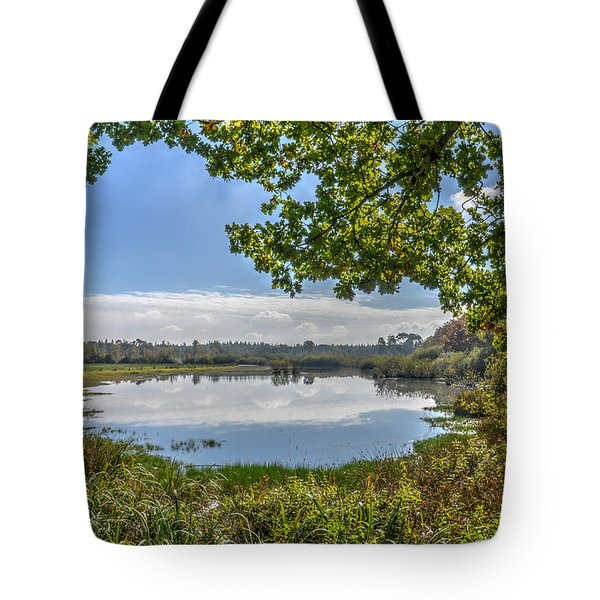 Forest Lake Through The Trees Tote Bag
