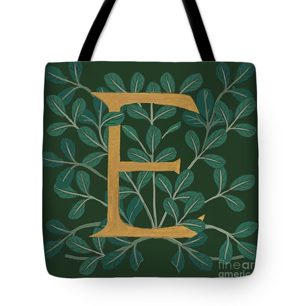 Forest Leaves Letter E Tote Bag