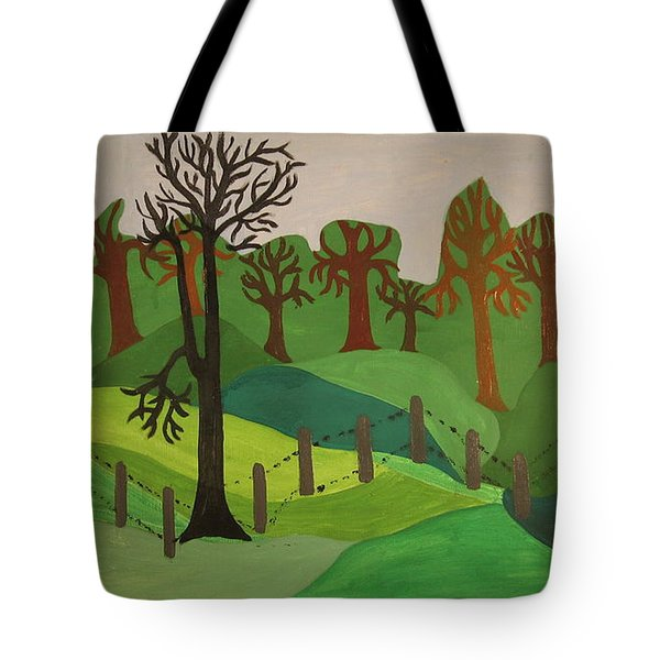Tote Bag featuring the painting Forest Moderna by Erika Chamberlin