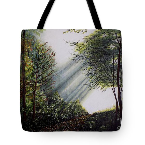 Tote Bag featuring the painting Forest Pathway by Judy Kirouac