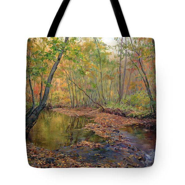 Forest River In Early Fall Tote Bag