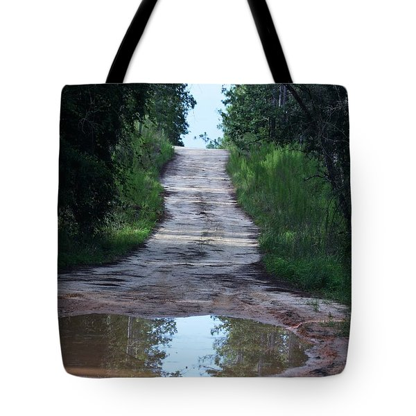 Forest Road And Puddle Tote Bag