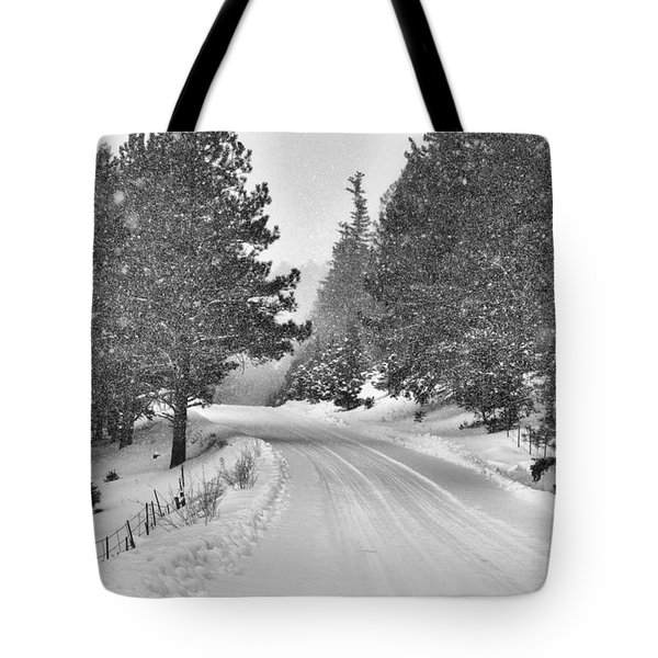 Forest Road In The Snow Tote Bag