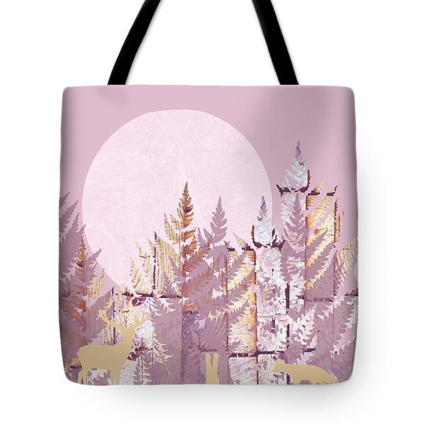 Tote Bag featuring the photograph Forest Scenic With Stag Owl Rabbit Coyote In Purple by Suzanne Powers