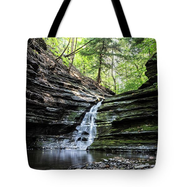 Tote Bag featuring the photograph Forest Waterfall by MGL Meiklejohn Graphics Licensing