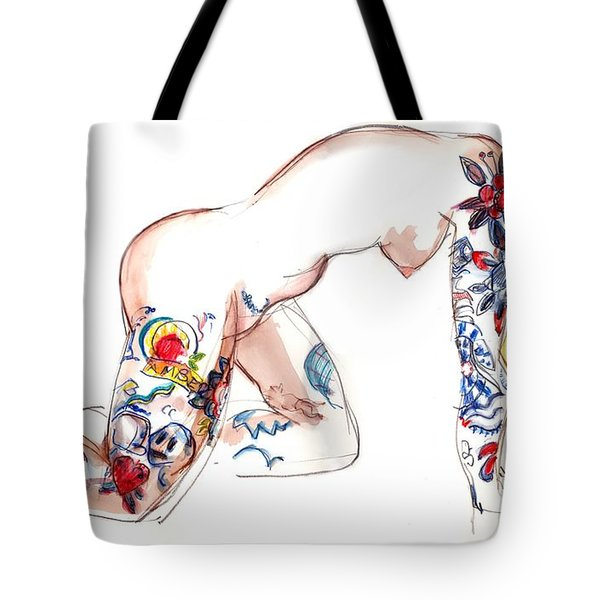 Forever Amber - Tattoed Nude Tote Bag by Carolyn Weltman