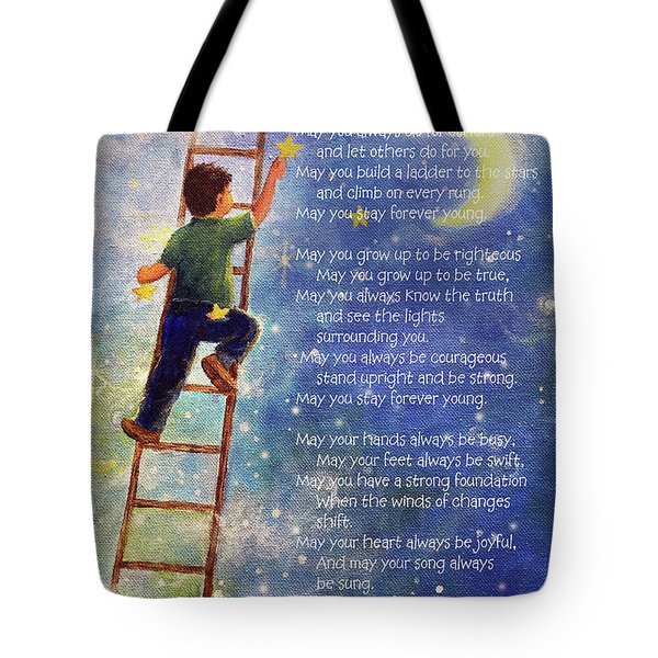 Forever Young Bob Dylan Lyrics Tote Bag