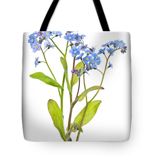 Forget-me-not Flowers On White Tote Bag by Elena Elisseeva