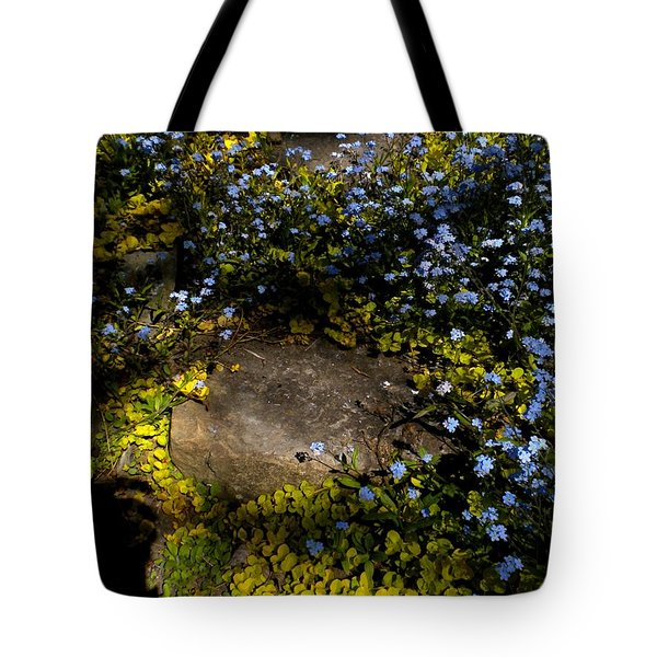 Tote Bag featuring the painting Forget-me-nots 1 by Renate Nadi Wesley