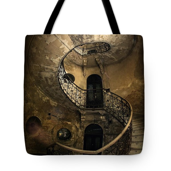 Tote Bag featuring the photograph Forgotten Staircase by Jaroslaw Blaminsky