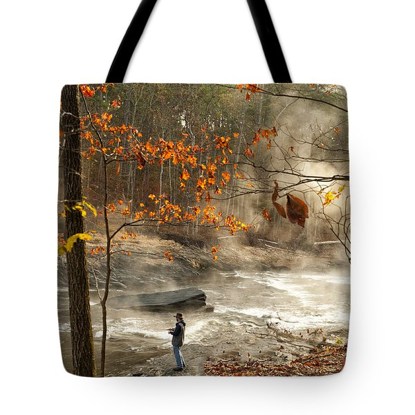 Fork River In Fall Tote Bag