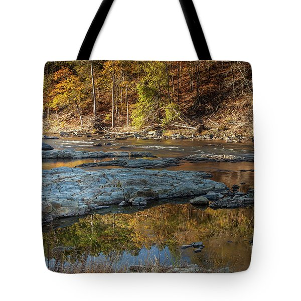 Tote Bag featuring the photograph Fork River Reflection In Fall by Iris Greenwell
