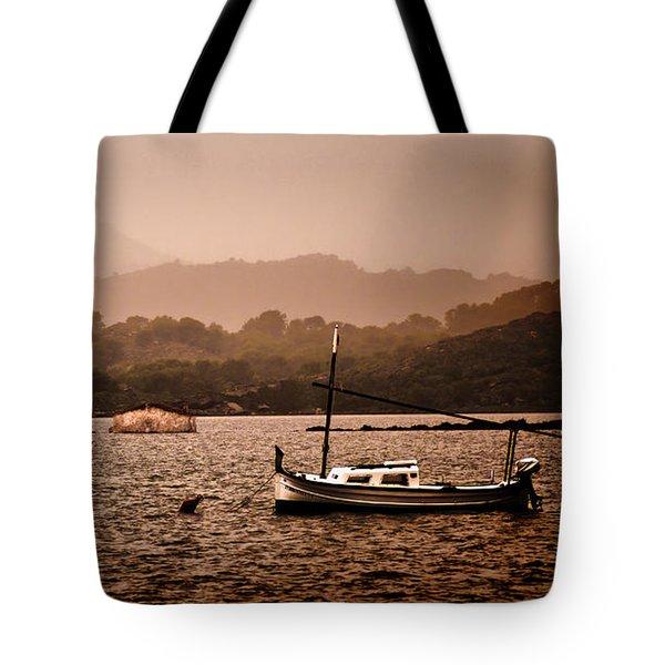 Fornells Bay In Menorca Island - Even Most Beautiful Places Have Secrets To Hide By Pedro Cardona Tote Bag by Pedro Cardona Llambias
