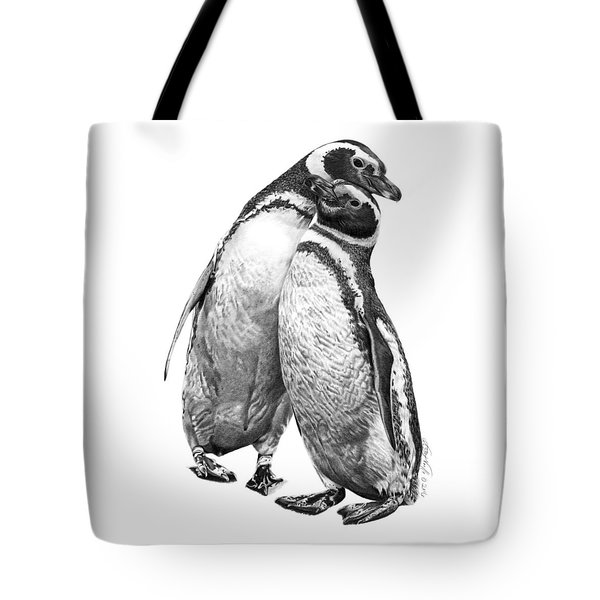 Tote Bag featuring the drawing Forrest And Jenny The Penguins by Abbey Noelle