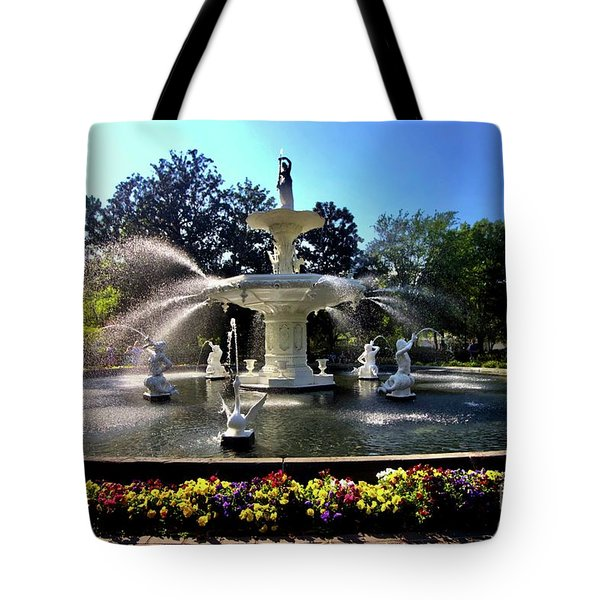 Forsyth Fountain In Spring Tote Bag