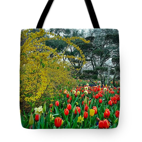 Tote Bag featuring the photograph Forsythia Tulips And Daffadils by Diana Mary Sharpton