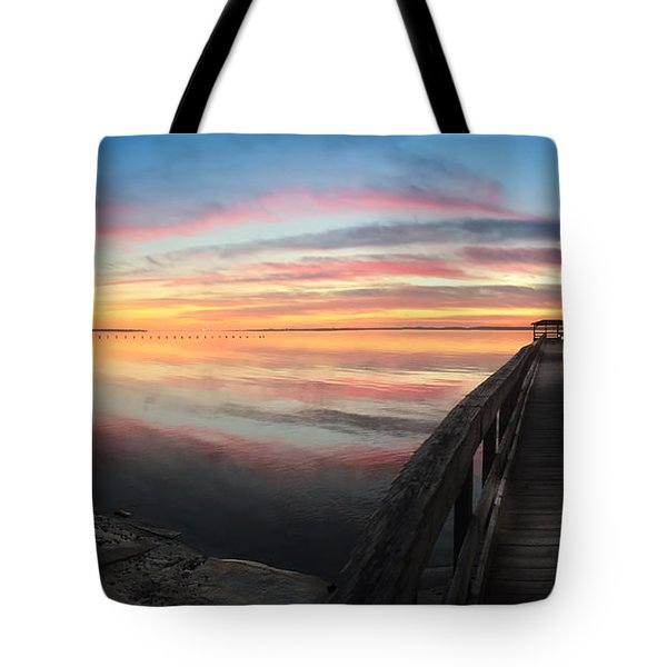 Fort Fisher Sunset Reverie With Heron Tote Bag
