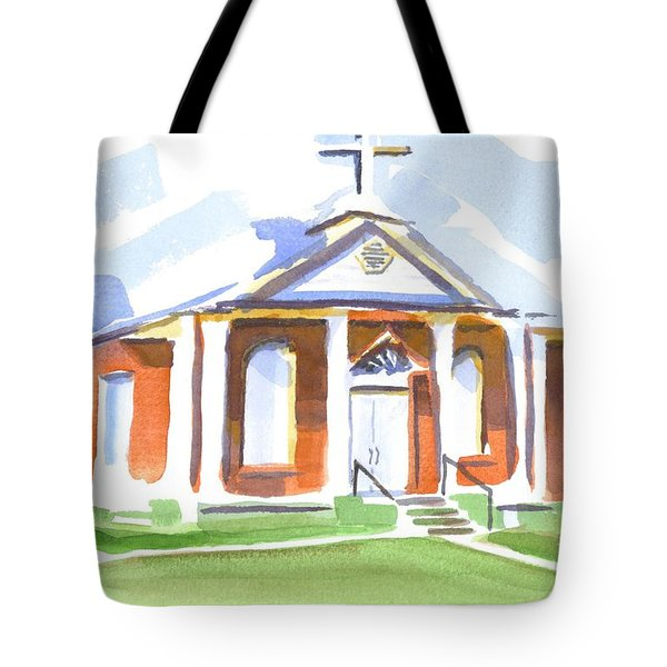 Tote Bag featuring the painting Fort Hill Methodist Church by Kip DeVore