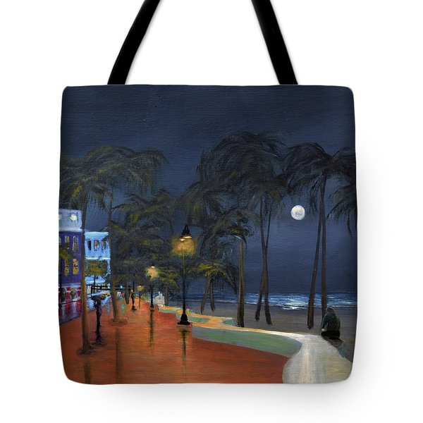 Fort Lauderdale Beach At Night Tote Bag