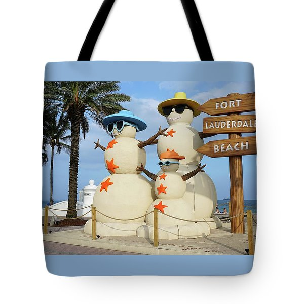 Fort Lauderdale Snowman Tote Bag
