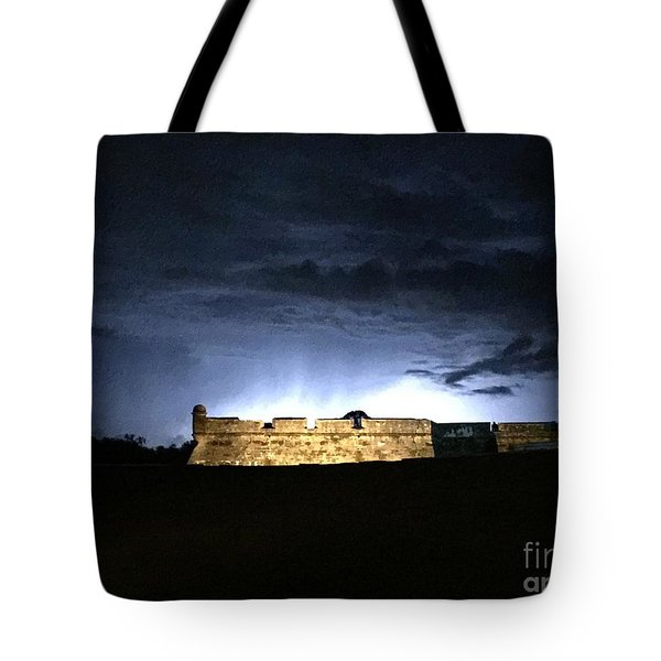 Tote Bag featuring the photograph Lightening At Castillo De San Marco by LeeAnn Kendall