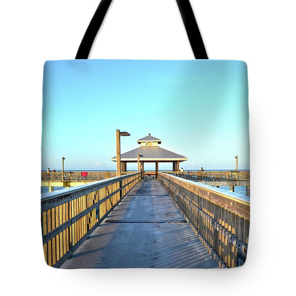Fort Myers Beach Florida Fishing Pier Tote Bag