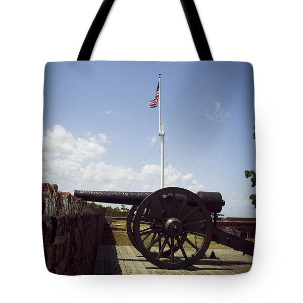 Fort Pulaski Cannon And Flag Tote Bag