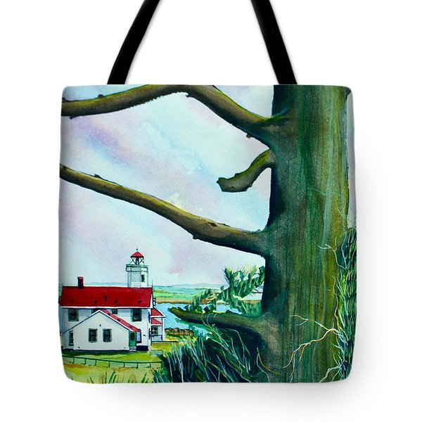 Fort Worden Lighthouse With Tree Tote Bag