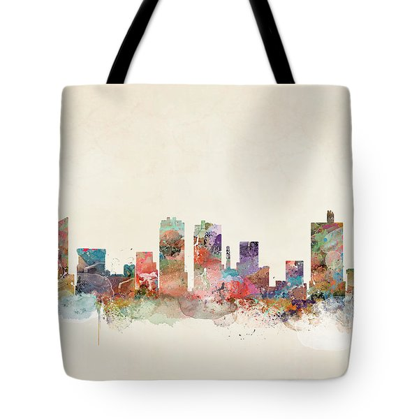 Fort Worth City Skyline Tote Bag
