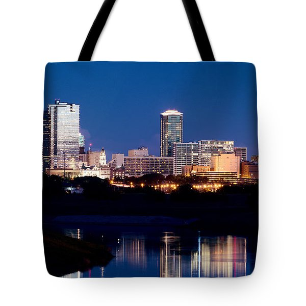 Fort Worth Skyline At Night Poster Tote Bag