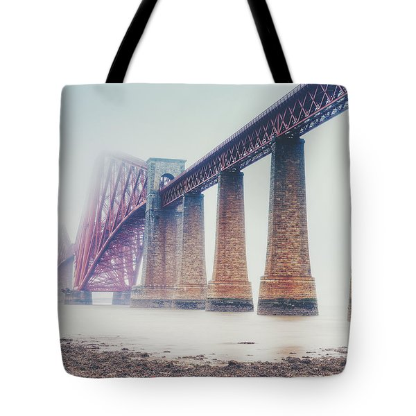 Tote Bag featuring the photograph Forth Bridge Rain by Ray Devlin