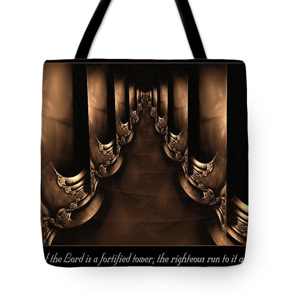 Tote Bag featuring the digital art Fortified Tower by Missy Gainer
