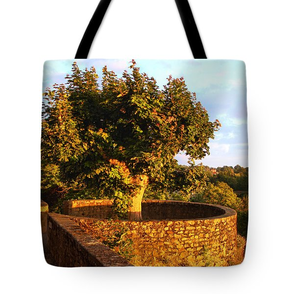 Fortress Tree At Sunset In Le Dorat Tote Bag by Menega Sabidussi