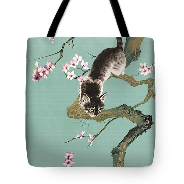 Fortune Cat In Cherry Tree Tote Bag