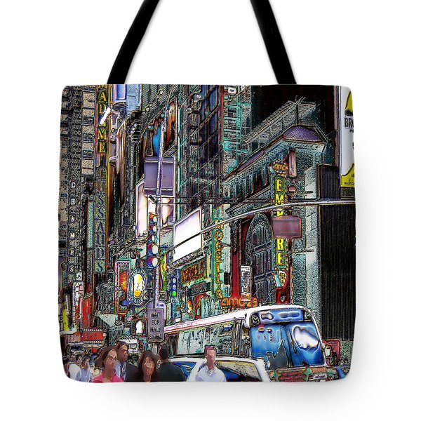 Forty Second And Eighth Ave N Y C Tote Bag by Iowan Stone-Flowers