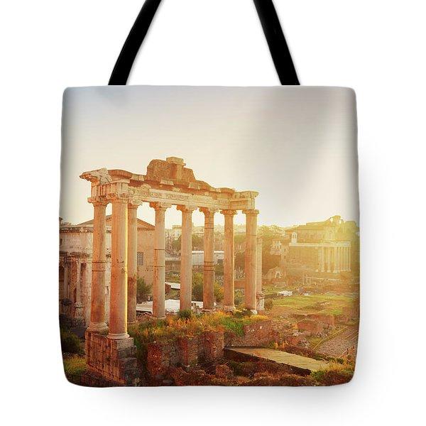 Forum - Roman Ruins In Rome At Sunrise Tote Bag