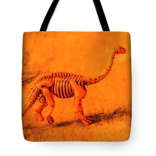 Fossilised Exhibit In Toy Dinosaurs Tote Bag
