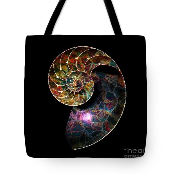Tote Bag featuring the digital art Fossilized Nautilus Shell by Klara Acel