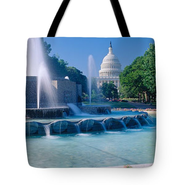 Fountain And Us Capitol Building Tote Bag by Panoramic Images