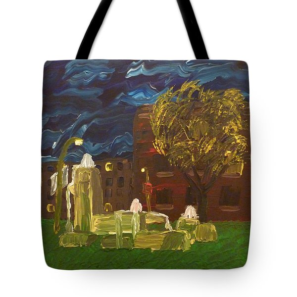 Tote Bag featuring the painting Fountain At Night by Joshua Redman